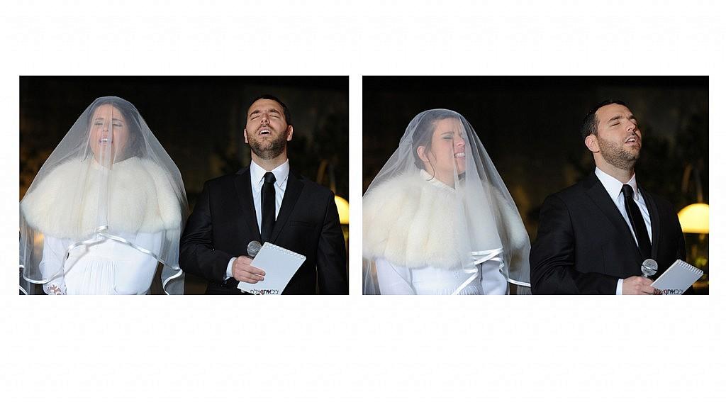 הזוג ברגעי הקדושה בטקס החופה וקידושין