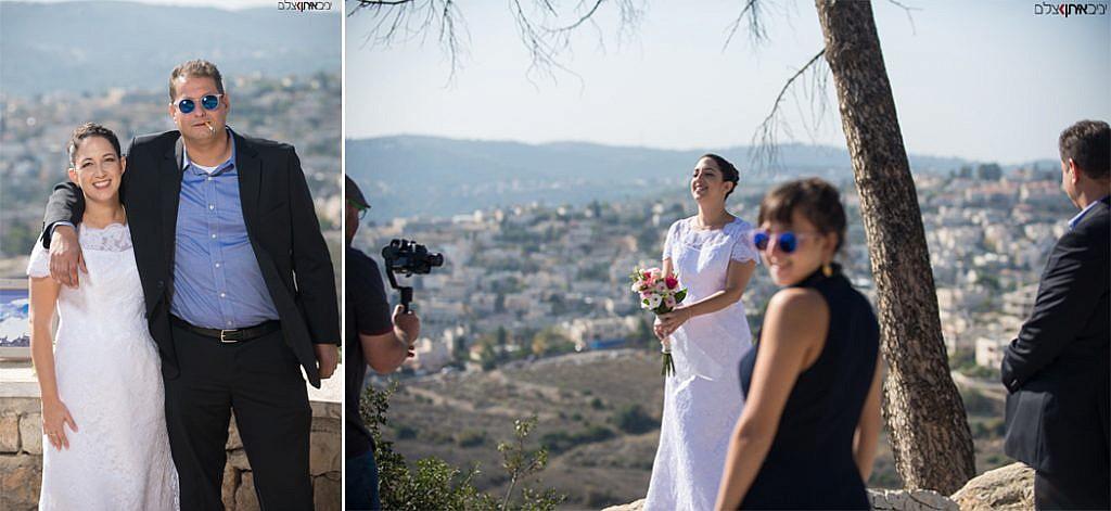הזוג המאושר בתמונות על רקע הרי ירושלים