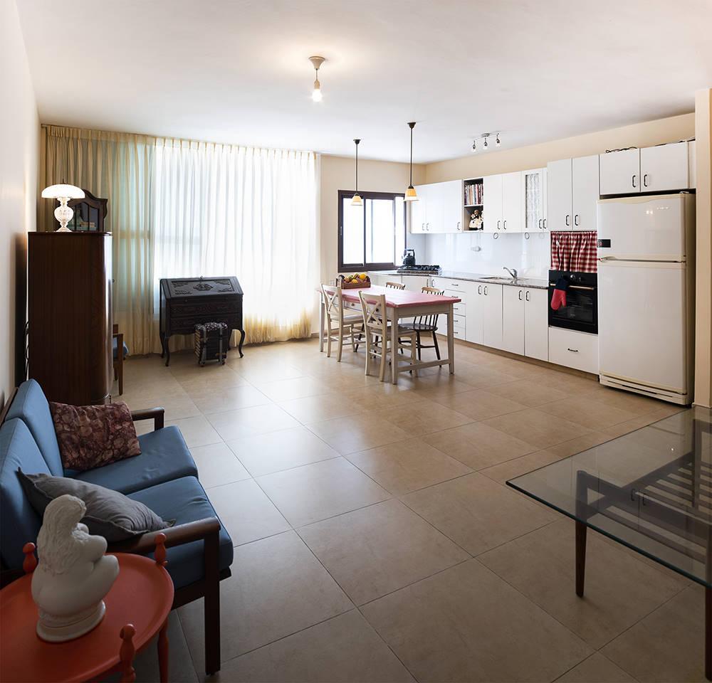 מבט מהכניסה לסלון בדירה בתל אביב