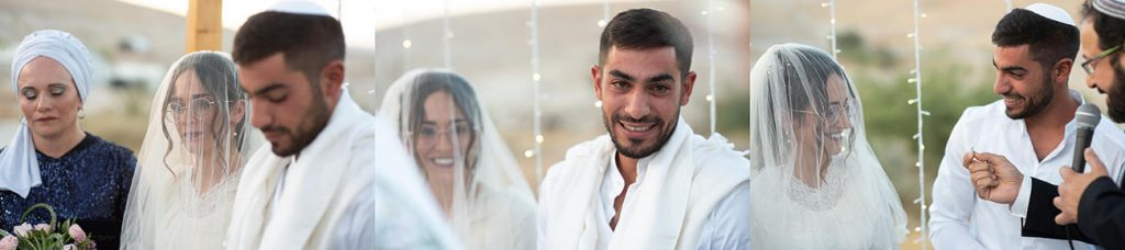 החתן והכלה בחופה מרגשת לאור שקיעה במדבר