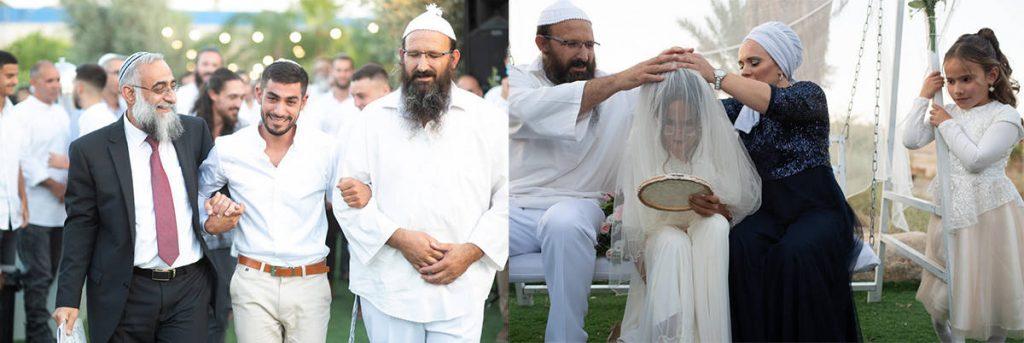 הדרך המרגשת של החתן מלווה באבות בדרך לכיסא הכלה