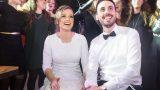 שמחה עד השמיים של החתן והכלה. מזל טוב !
